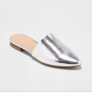 A New Day Junebug silver metallic point toe flats